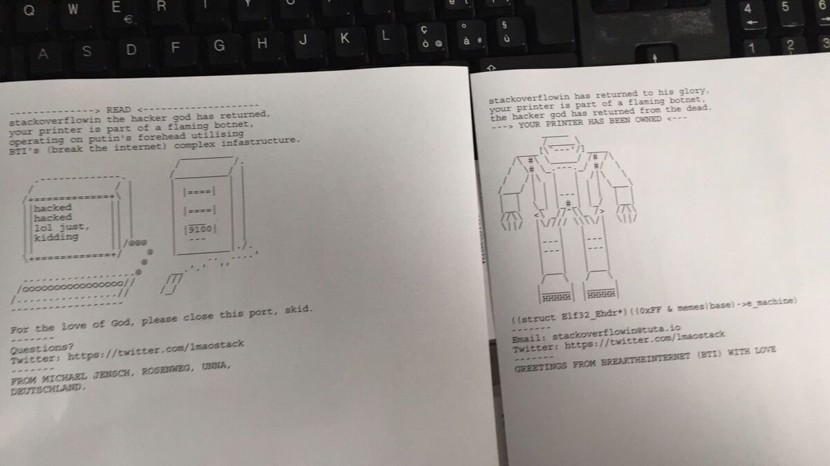 Hacker sends warning message to insecure printers about hacking possibility