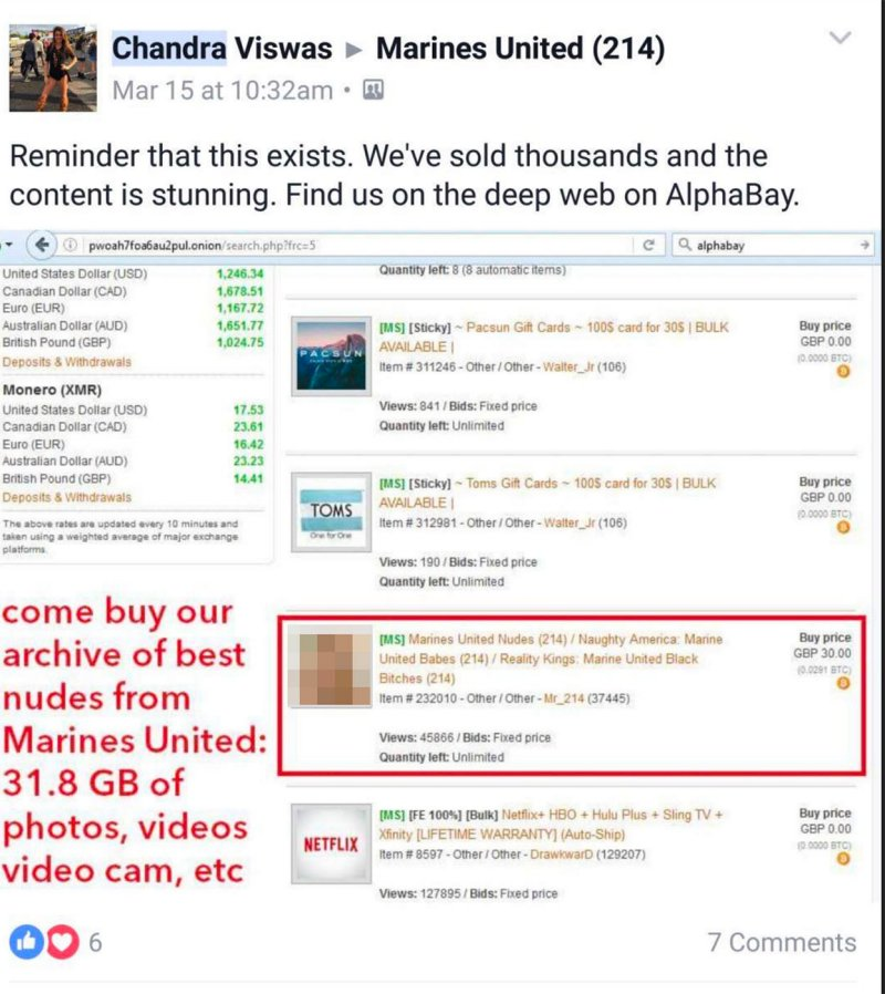 Latest Report: Exposed Photos of United Marines Sale on Dark Web