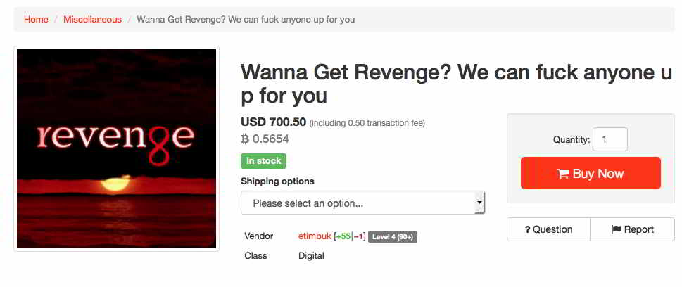 Now Buy the Latest Revenge Services; On-sale at Dark Web Markets
